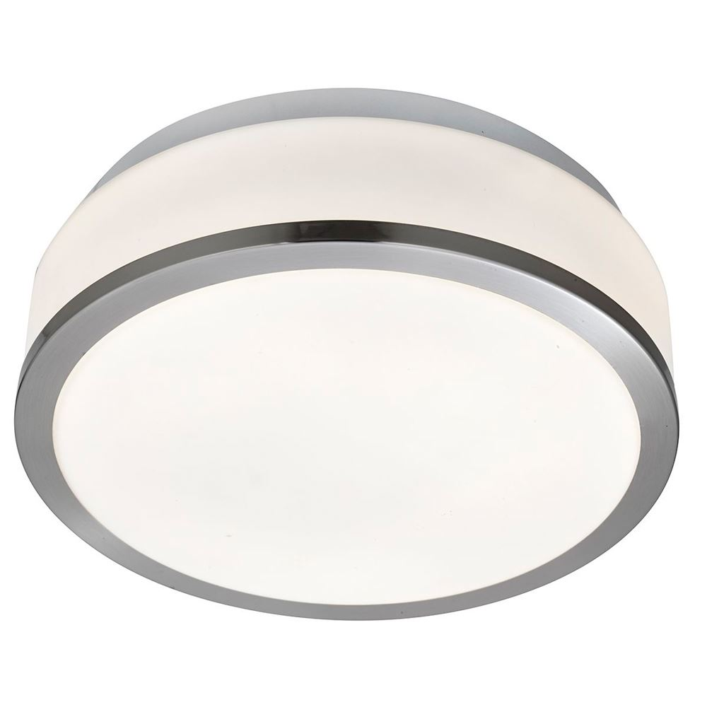 Satin Silver 2 Light Flush Fittings With Opal Glass Shade (pack Of 10) Dia 28cm