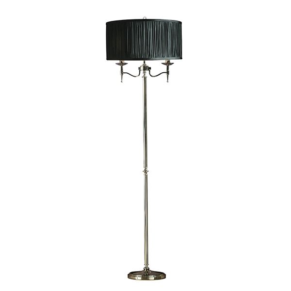 Stanford Steel Floor Lamp Nickel Finish With Black Shade For Interiors