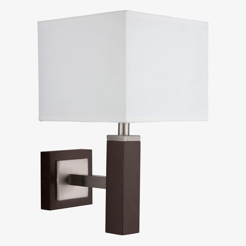 Waverley Wall Light 1 Light Brown Wood Satin Silver Rectangular