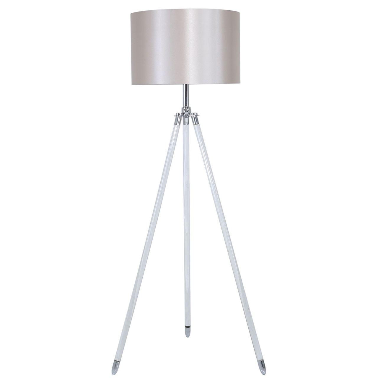 Acrylic Tripod Floor Lamp With Blush Pink Shade