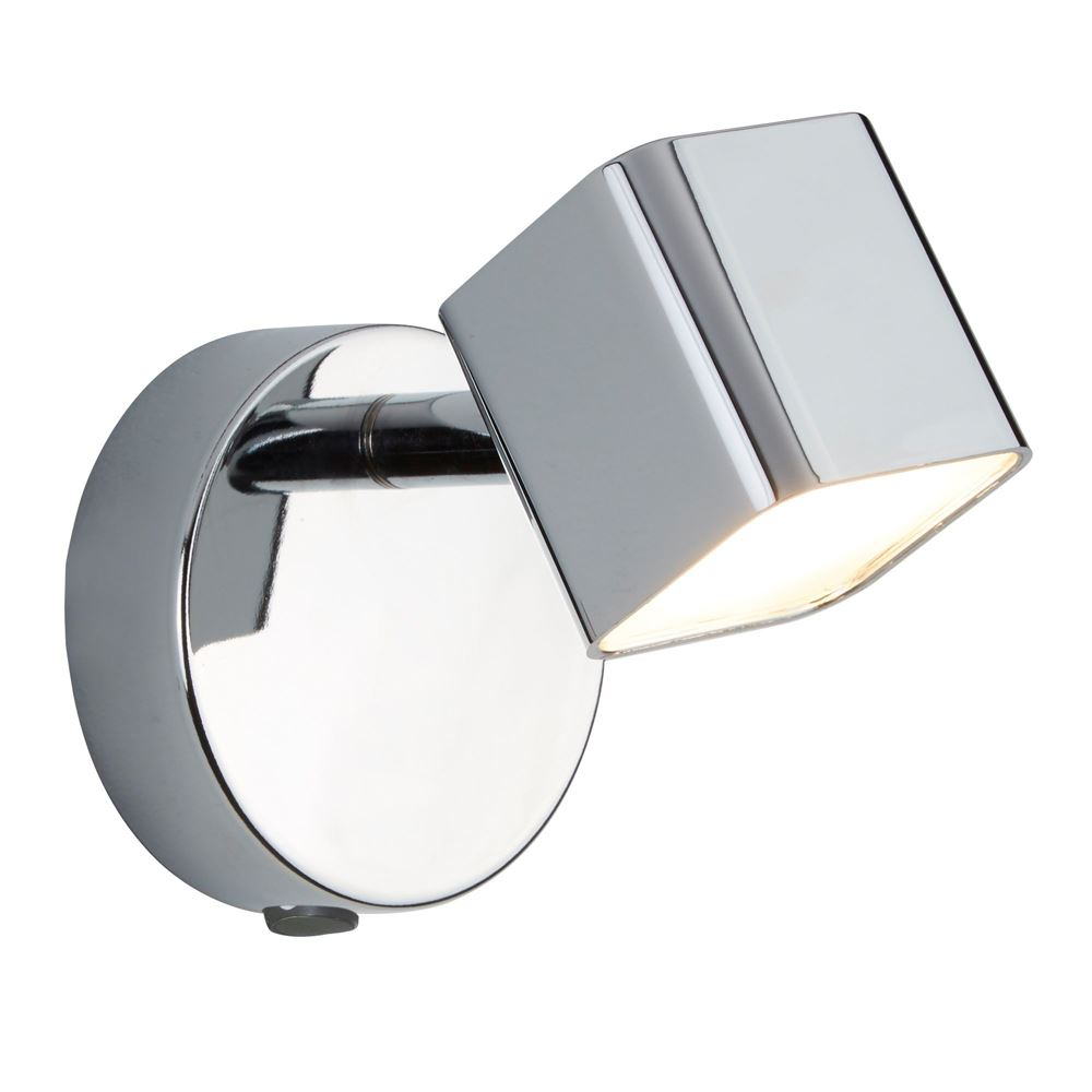 Quad Silver Chrome 1 Light Square Wall Spot Lighting