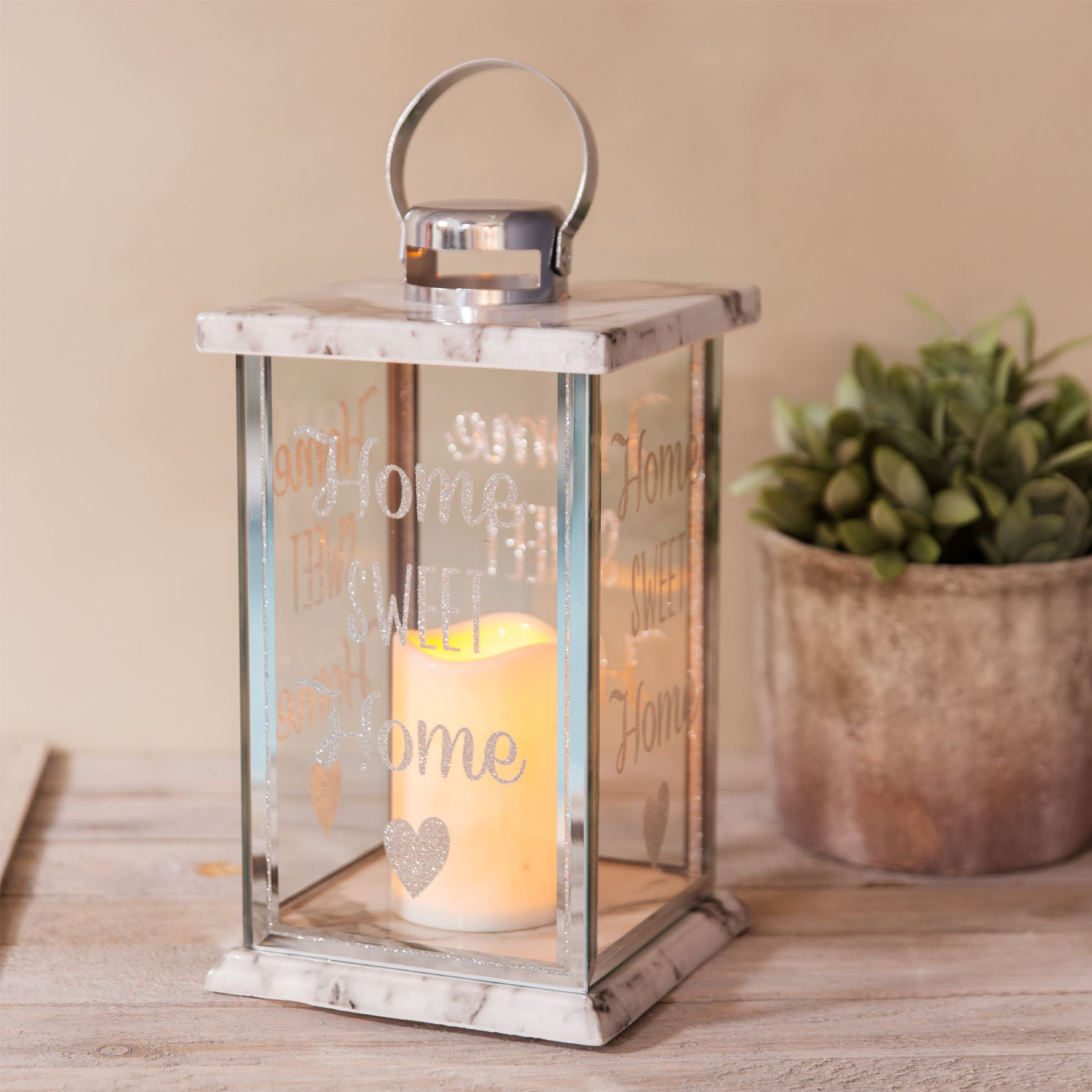 Hestia Glass Marble Effect LED Candle Lantern