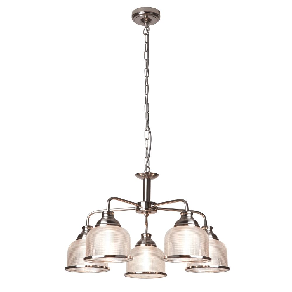 BISTRO II - 5 LIGHT CEILING, SATIN SILVER, HALOPHANE GLASS