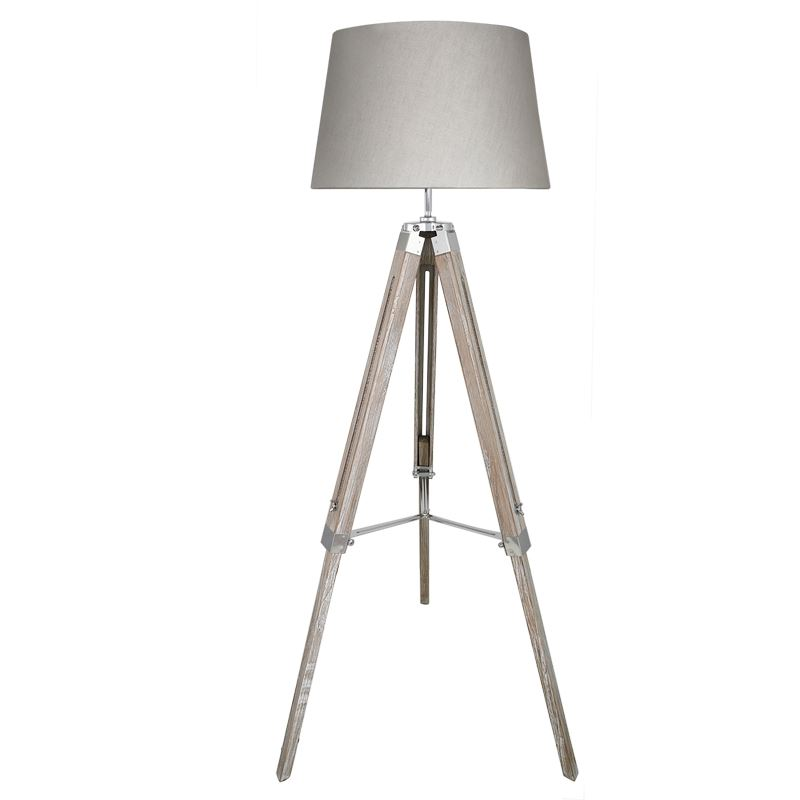 "Contemporary Grey Hollywood Tripod Floor Lamp With 17"" Natural Grey Empire Shade"
