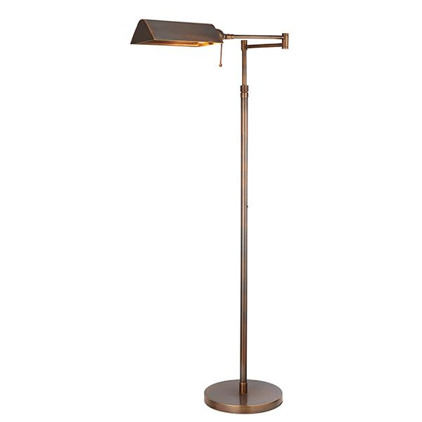 Clarendon Swing Arm 1 Light Floor Lamp Brass Material Contemporary