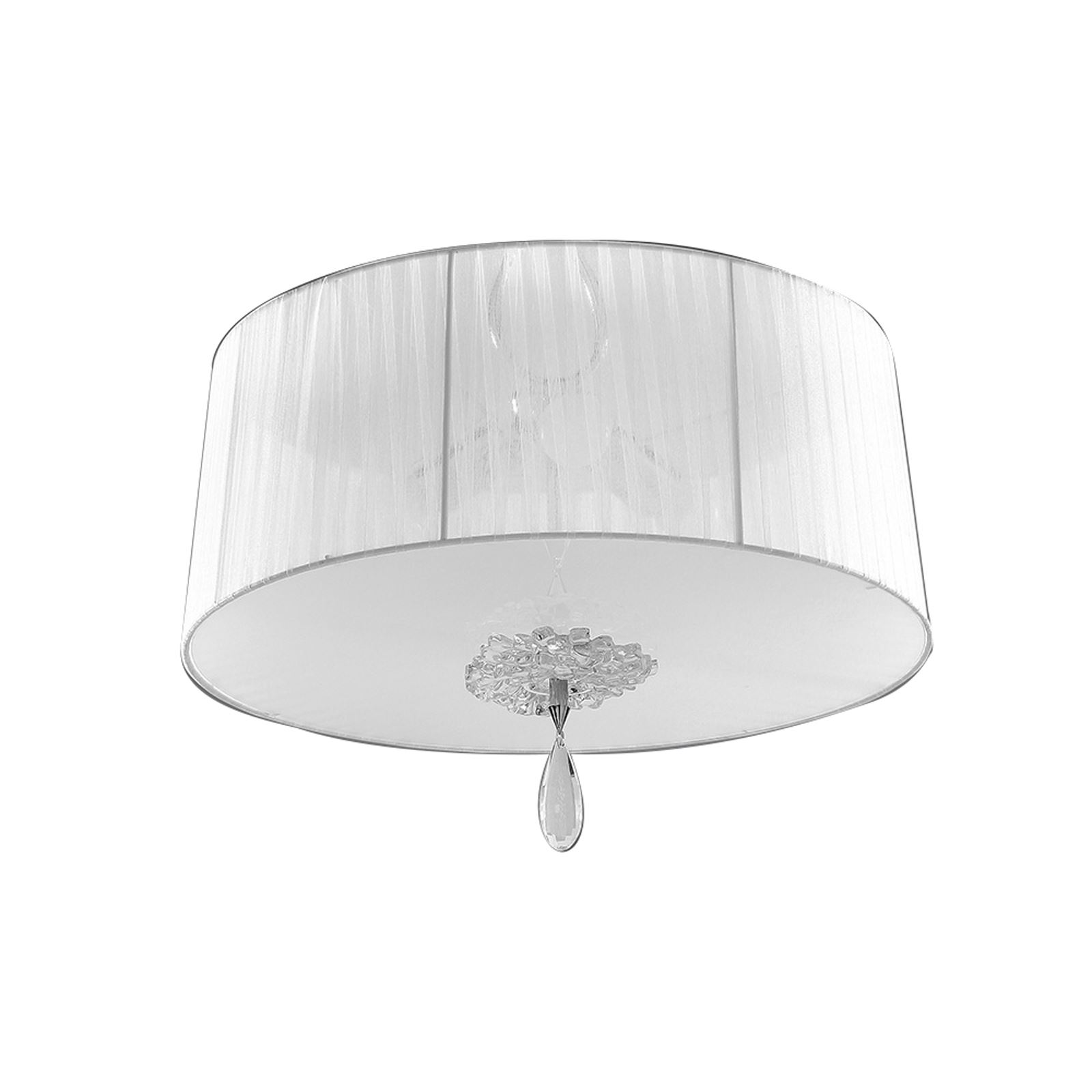Louise Flush 3 Light E27 Round With White Shade Polished Chrome/Clear Crystal