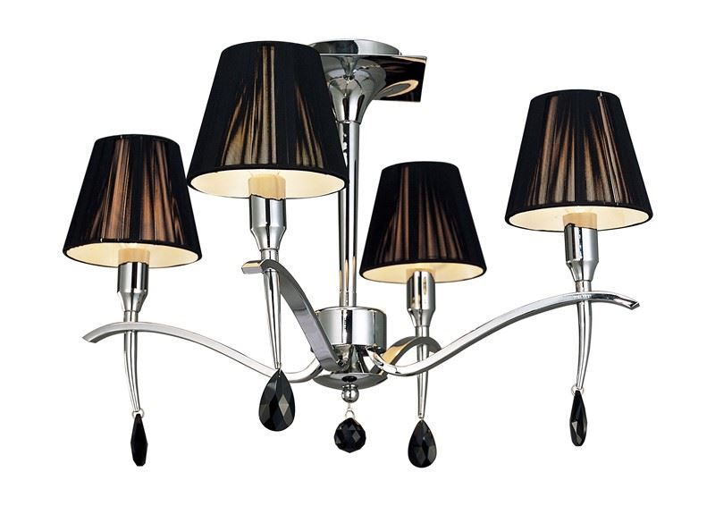 Ceiling 4 Light Polished Chrome With Black Silk String Shade