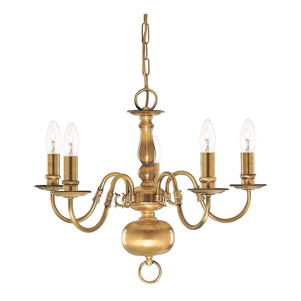 Flemish 5 Light Antique Brass Chandelier - Candle Style
