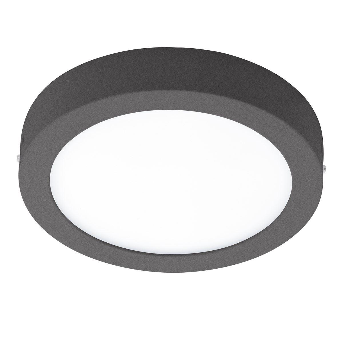 EGLO Round Ceiling Light Argolis Black Led 16,5W Ip44 Cast Aluminum Black