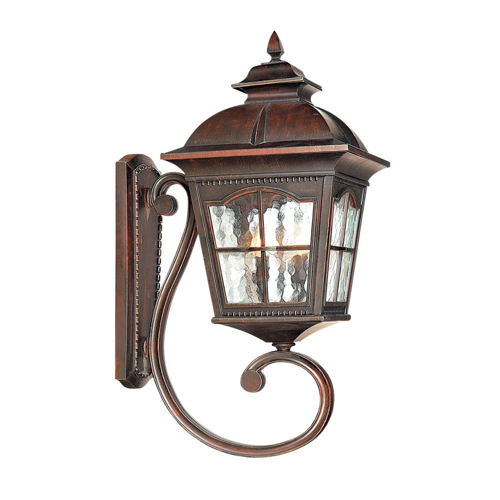Outdoor Small Up Light Wall Bracket, Finish With Glass