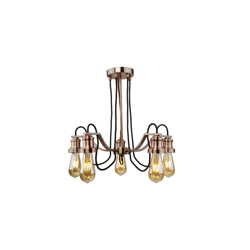 OLIVIA 5 LIGHT CEILING, BLACK BRAIDED FABRIC CABLE, ANTIQUE COPPER