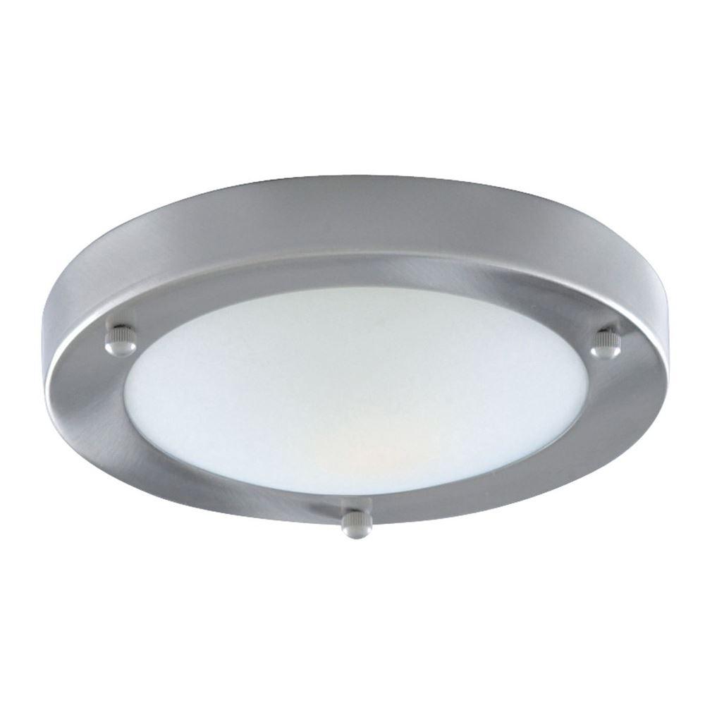 Bathroom Ip44 1 Light - 31cm Satin Silver Domed White Glass Flush