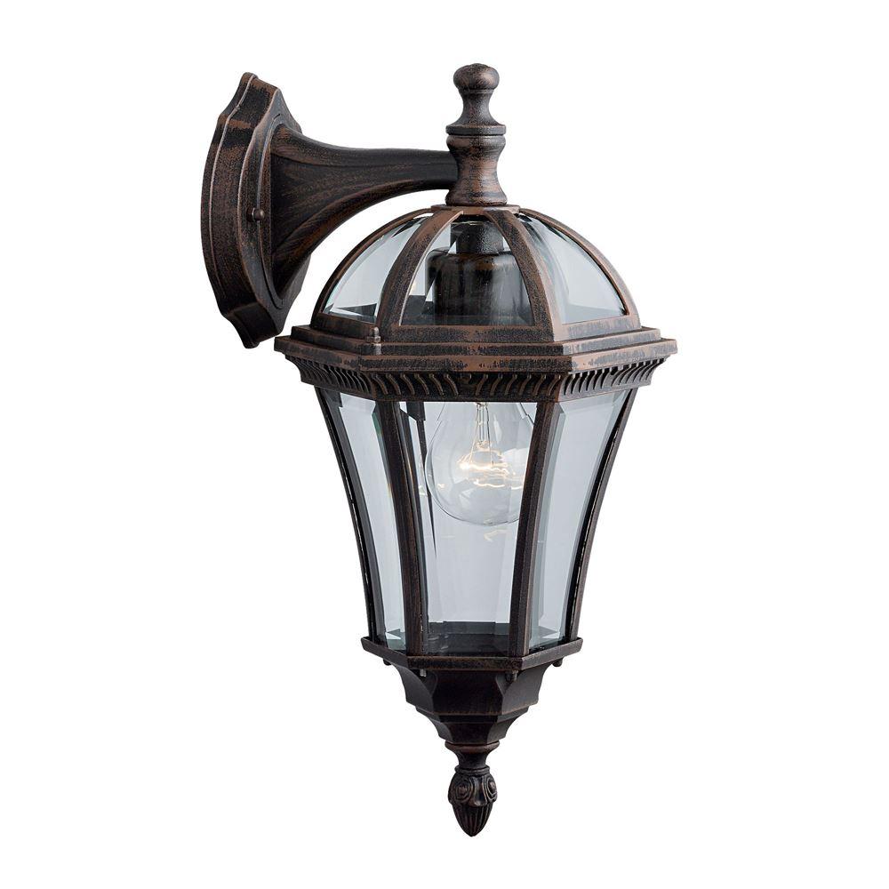 Capri - Outdoor Wall Light - Capri 1 Light Downlight Rustic Brown