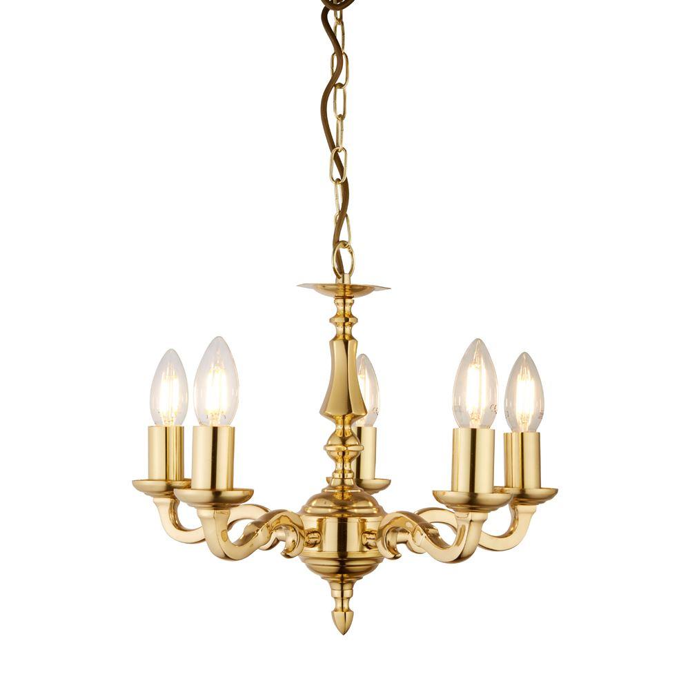 Seville 5 Light Polished Brass Candle Design Pendant Lights