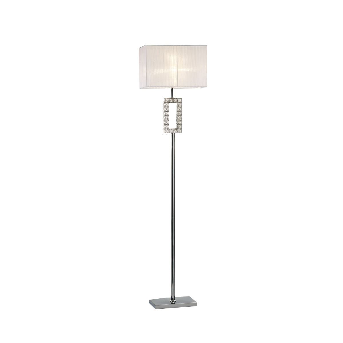 Florence Renctangle Floor Lamp With White Shade 1 Light Polished Chrome/Crystal