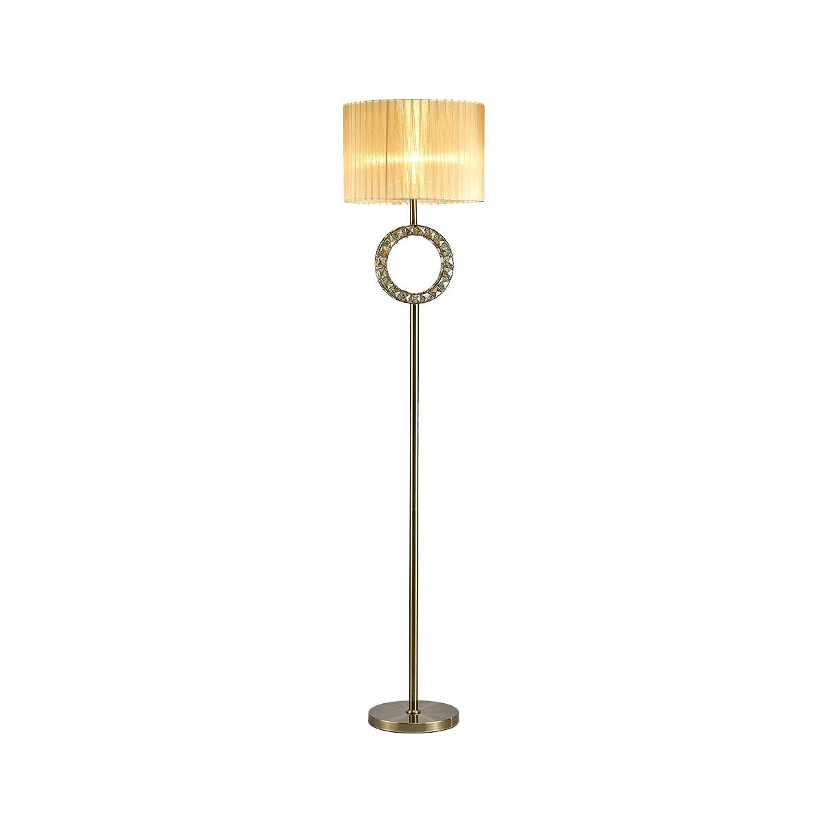 Florence Round Floor Lamp With Soft Bronze Shade 1 Light Antique Brass/Crystal