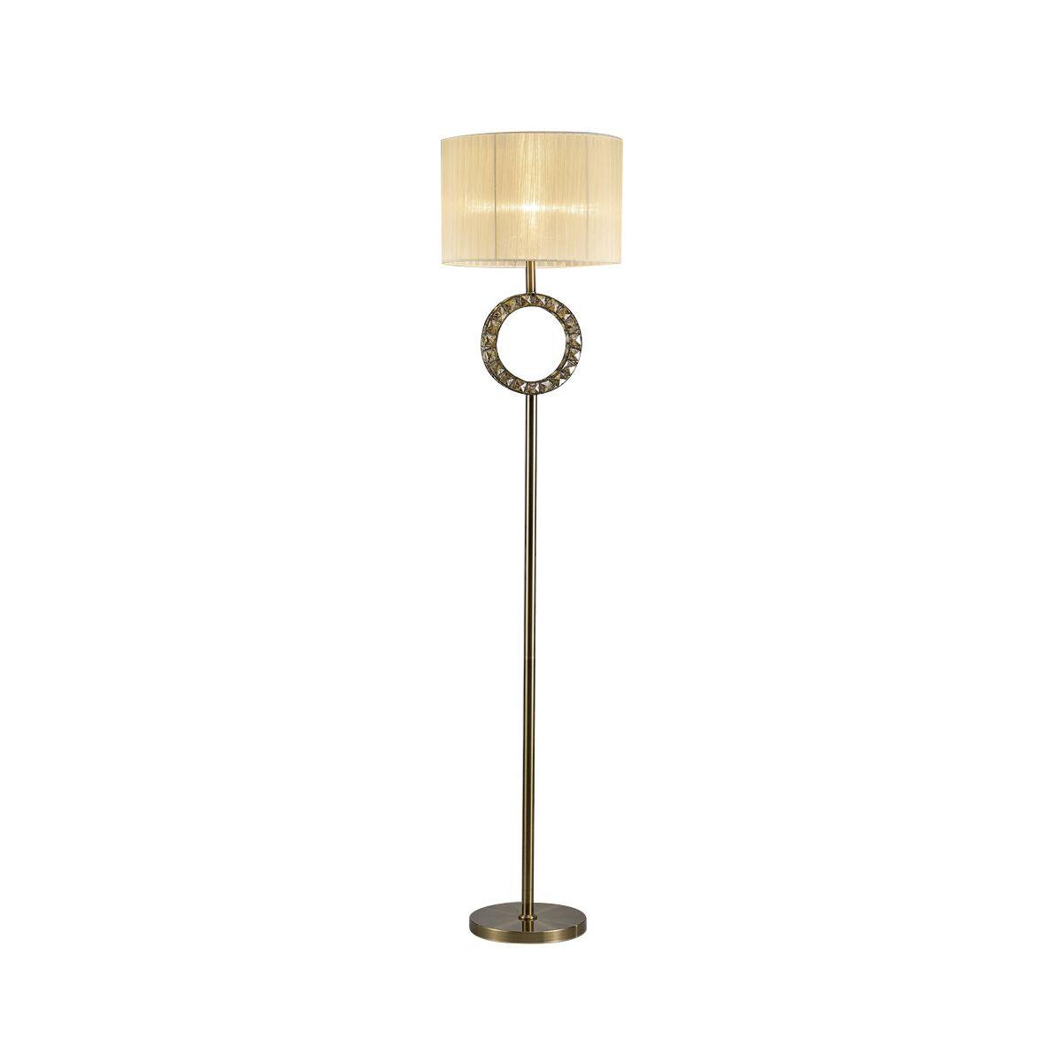 Diyas Florence Round Floor Lamp With Cream Shade 1 Light Antique Brass/Crystal