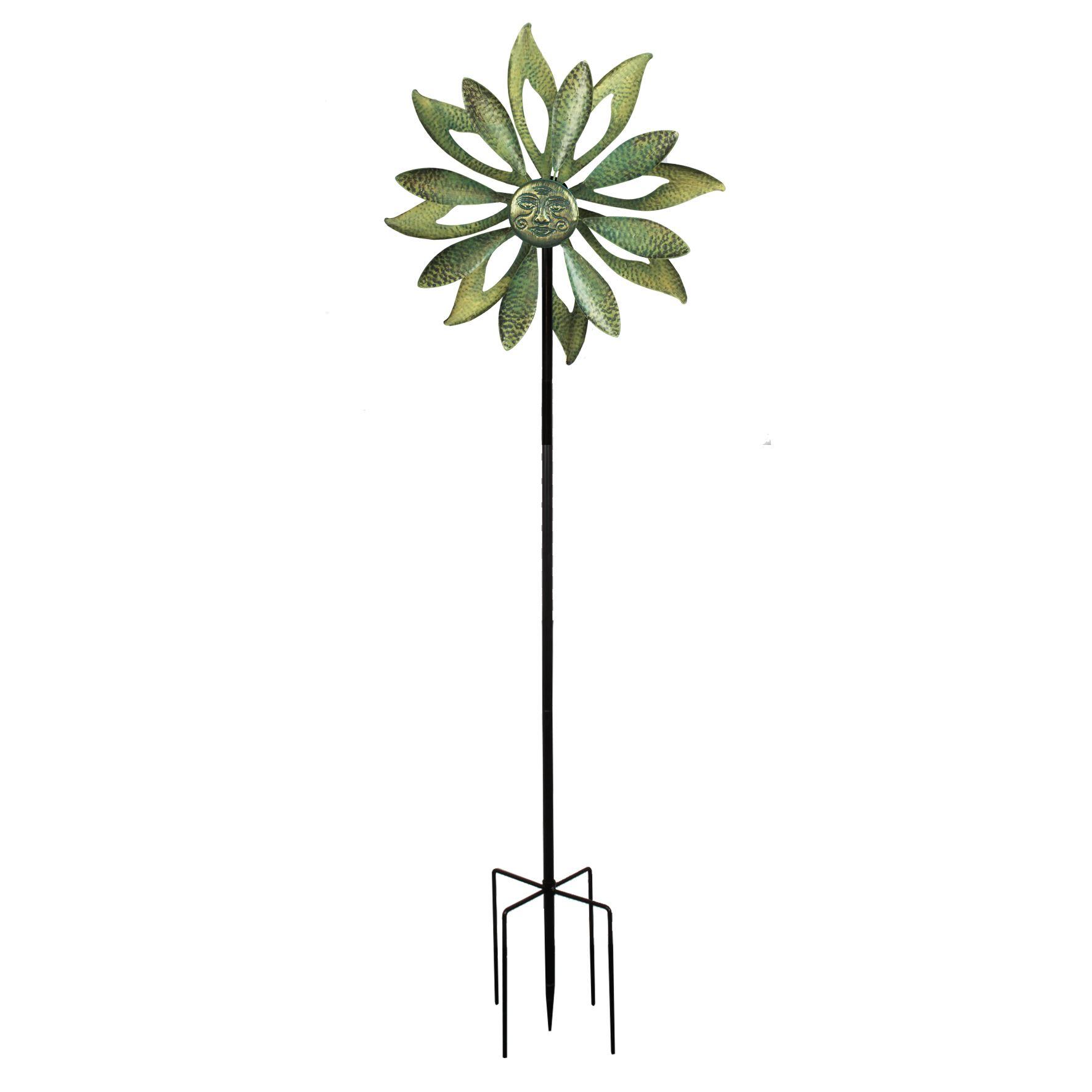 Country Living Kenetic Metal Garden Spinner Floral Sun Face - 61716
