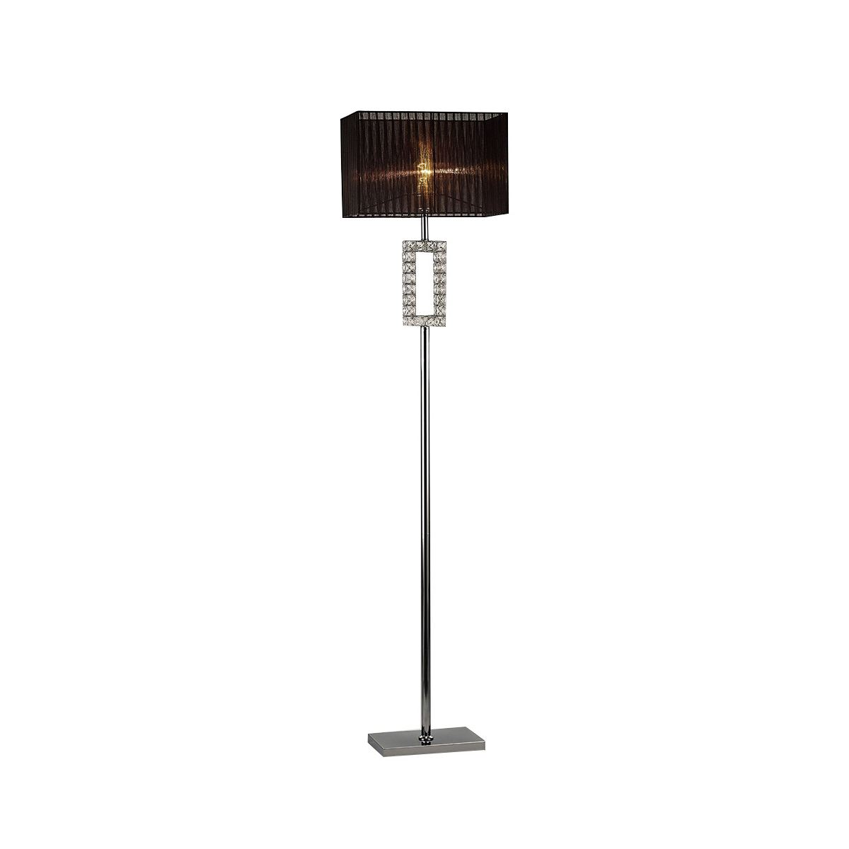 Florence Renctangle Floor Lamp With Black Shade 1 Light Polished Chrome/Crystal