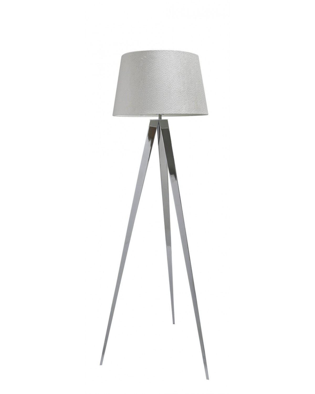 Chrome Hollywood Floor Lamp with 19 inch White Velvet Drum Shade
