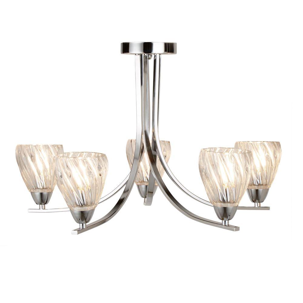 Ascona Ii - 5 Light Ceiling Semi Flush, Chrome Twist Frame, Clear Twisted Glass Shades