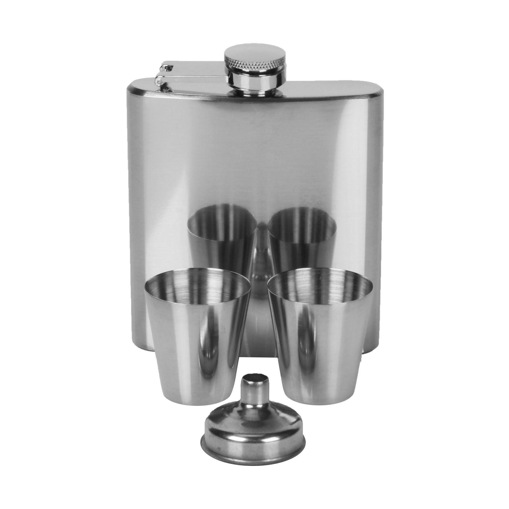 Harvey Makin 6Oz Hipflask, Funnel & Cups Plain Shiny Silver
