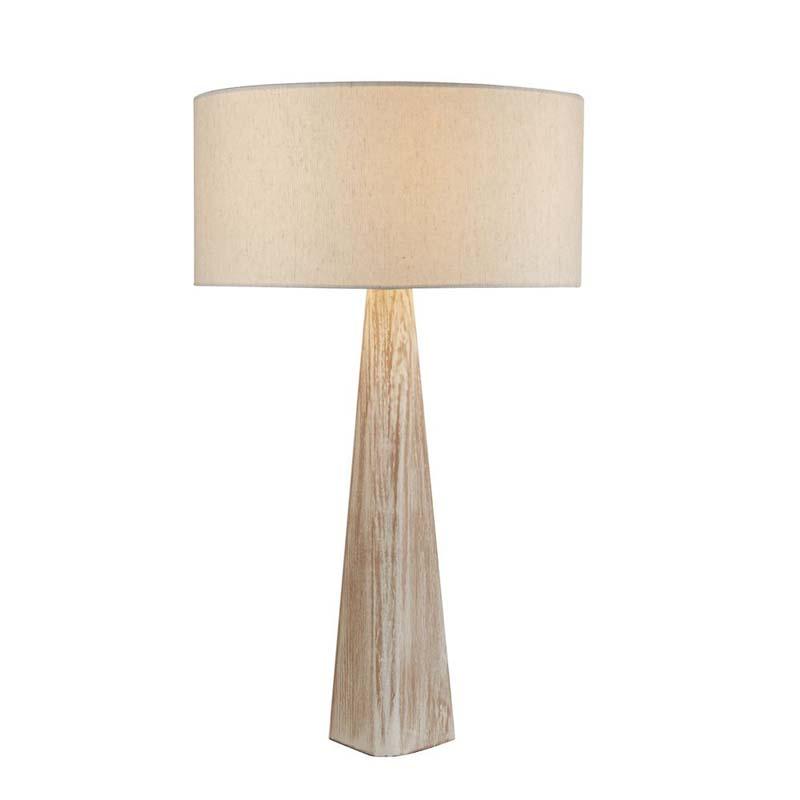 Bark Table Lamp, Wash Brown Base, Oatmeal Shade