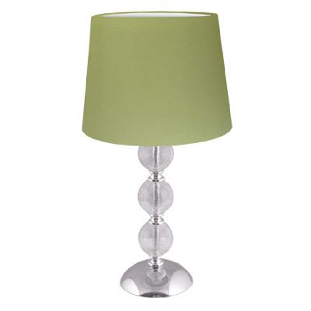 """Elegant Style Clear Cracked Glass 3 Ball Table Lamp With Moss Green 8"""" Shade"""