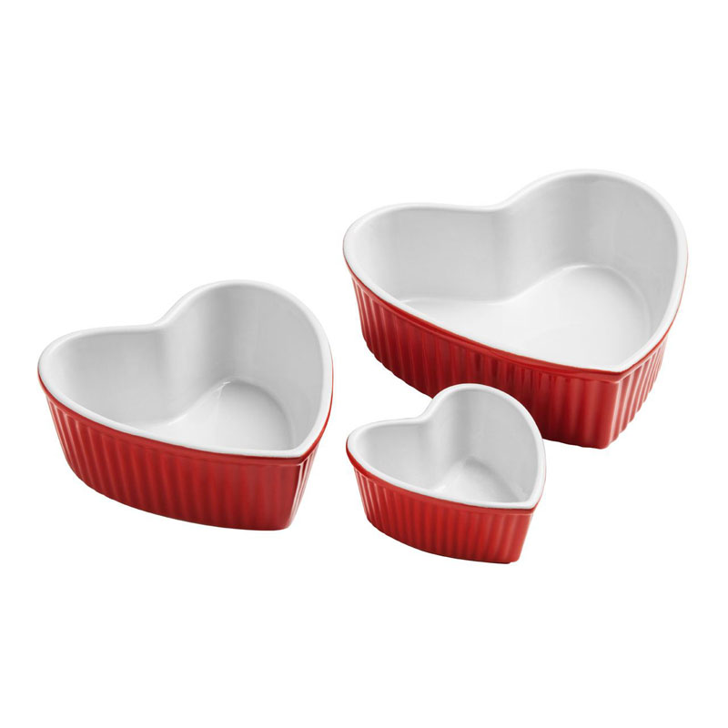 Amour Set of 3 Heart Shape Dishes,Red Stoneware,125Ml/540Ml/900Ml