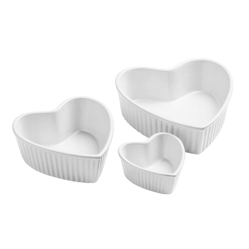 Amour Set of 3 Heart Shape Dishes,White Stoneware,125Ml/540Ml/900Ml