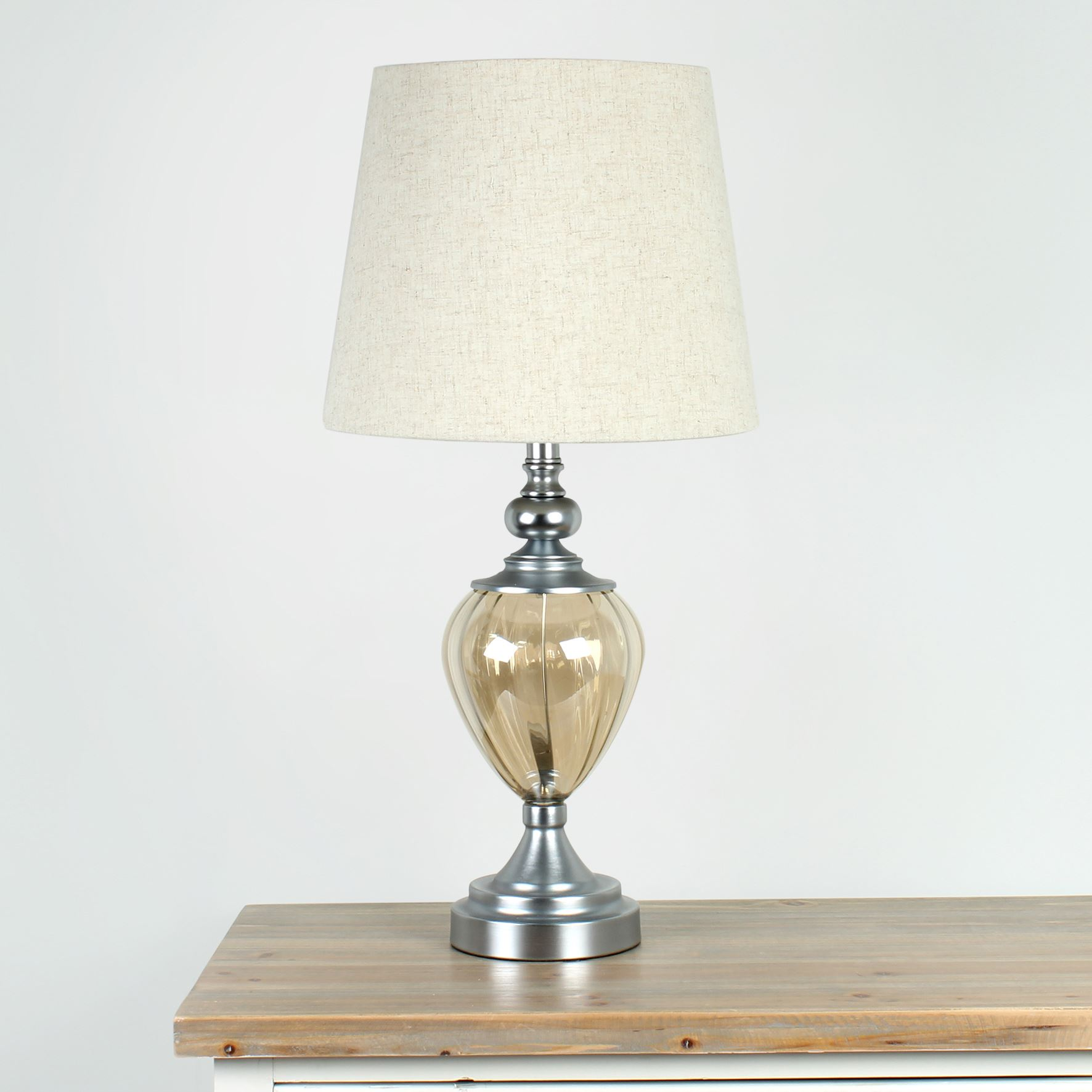 Hestia Table Lamp w/ Metal Base & White Shade