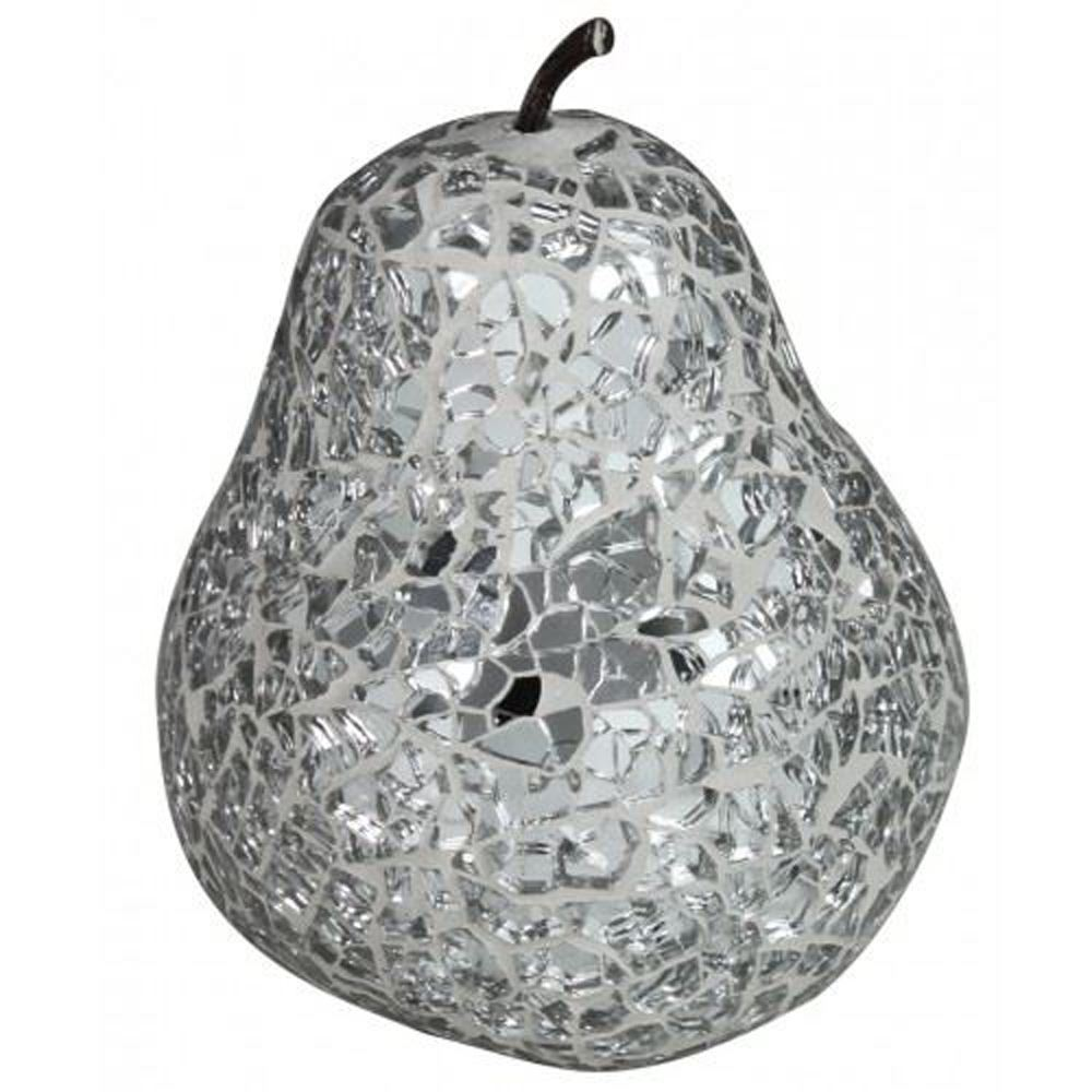 Silver Sparkle Mosaic Pear Decoration With Stem