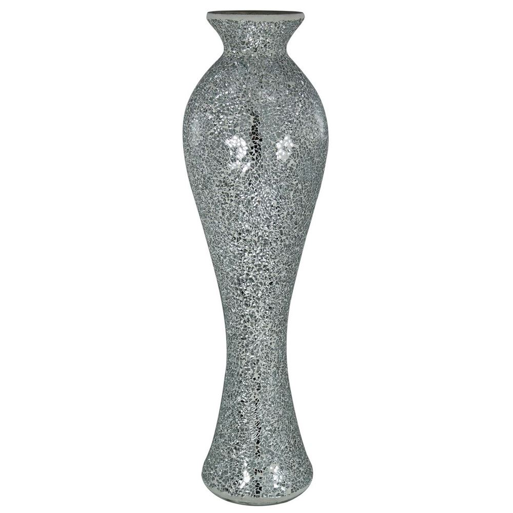 Silver Sparkle Mosaic Tall Vase Contemporary Room Decoration