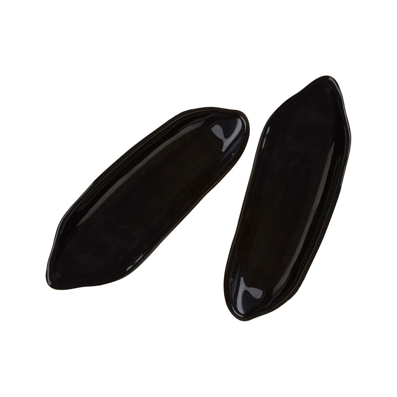 Corn On The Cob Dishes,Set of 2,Black Glass