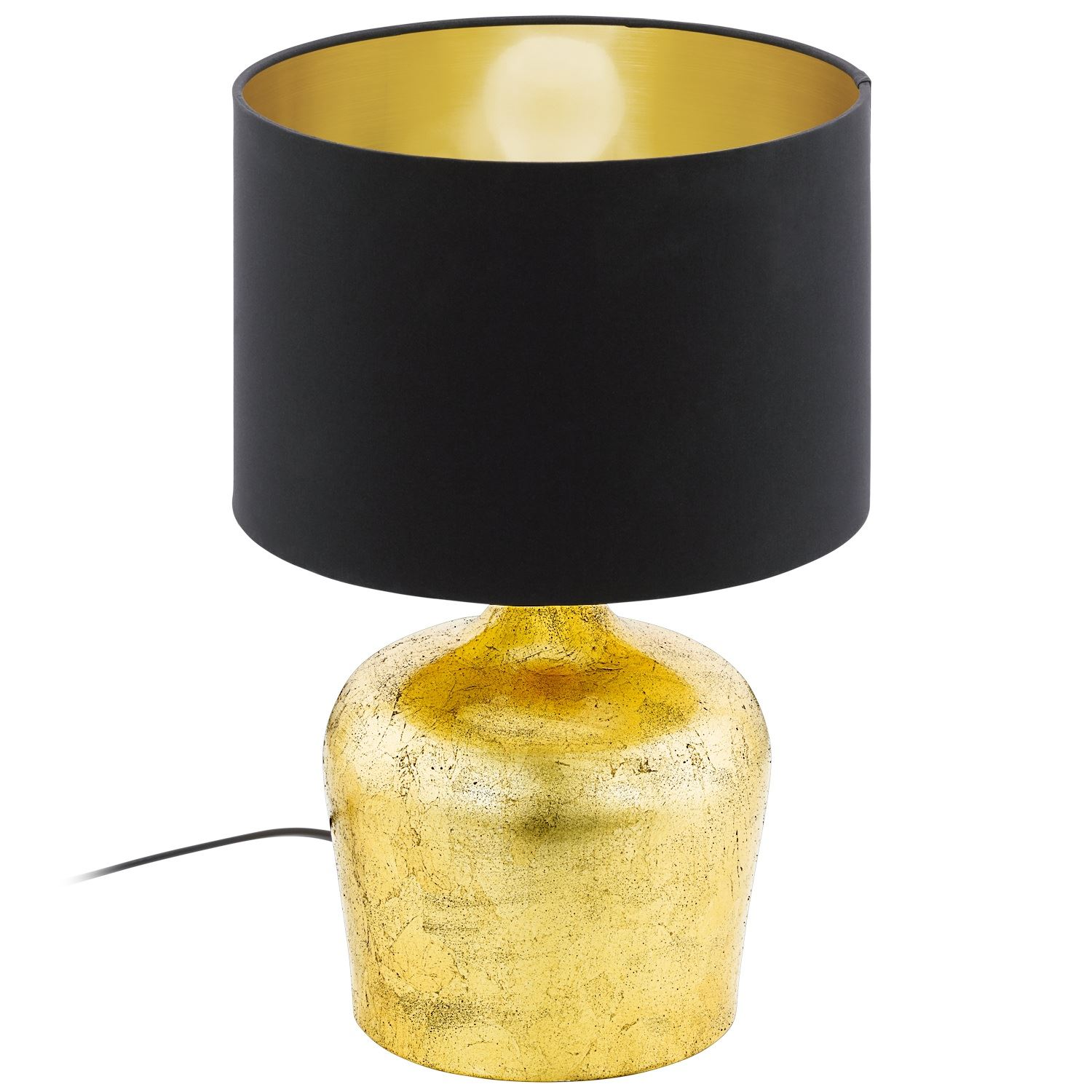 Manalba Table Lamp Light E27 Height 380mm Steel Gold Black Fabric Shade