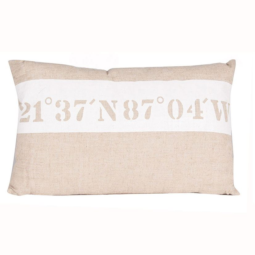 Natural Fabric Oblong Scatter Cushion Nautical Design Throw Rustic Style