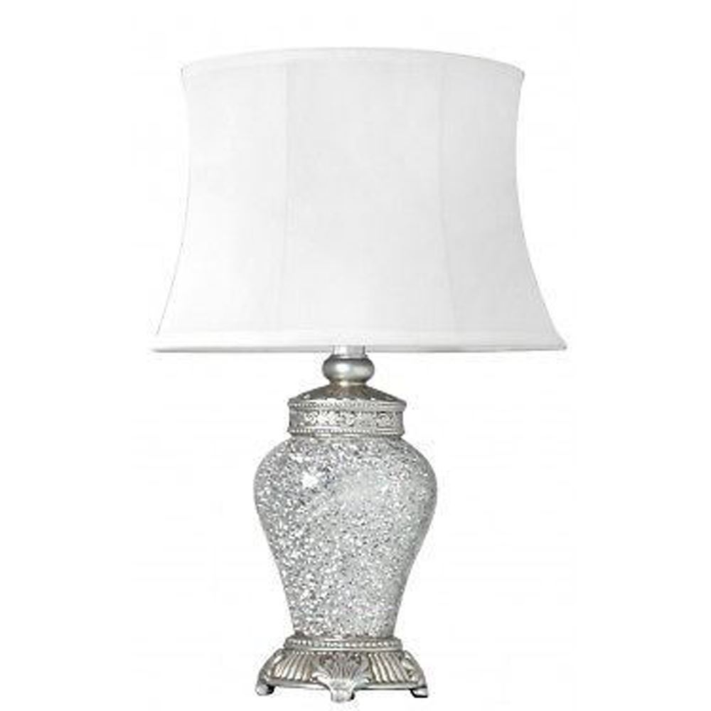 Modern Silver Metal Sparkle Mosaic Antique Silver Regency Small Table Lamps White Trim Shade - BL