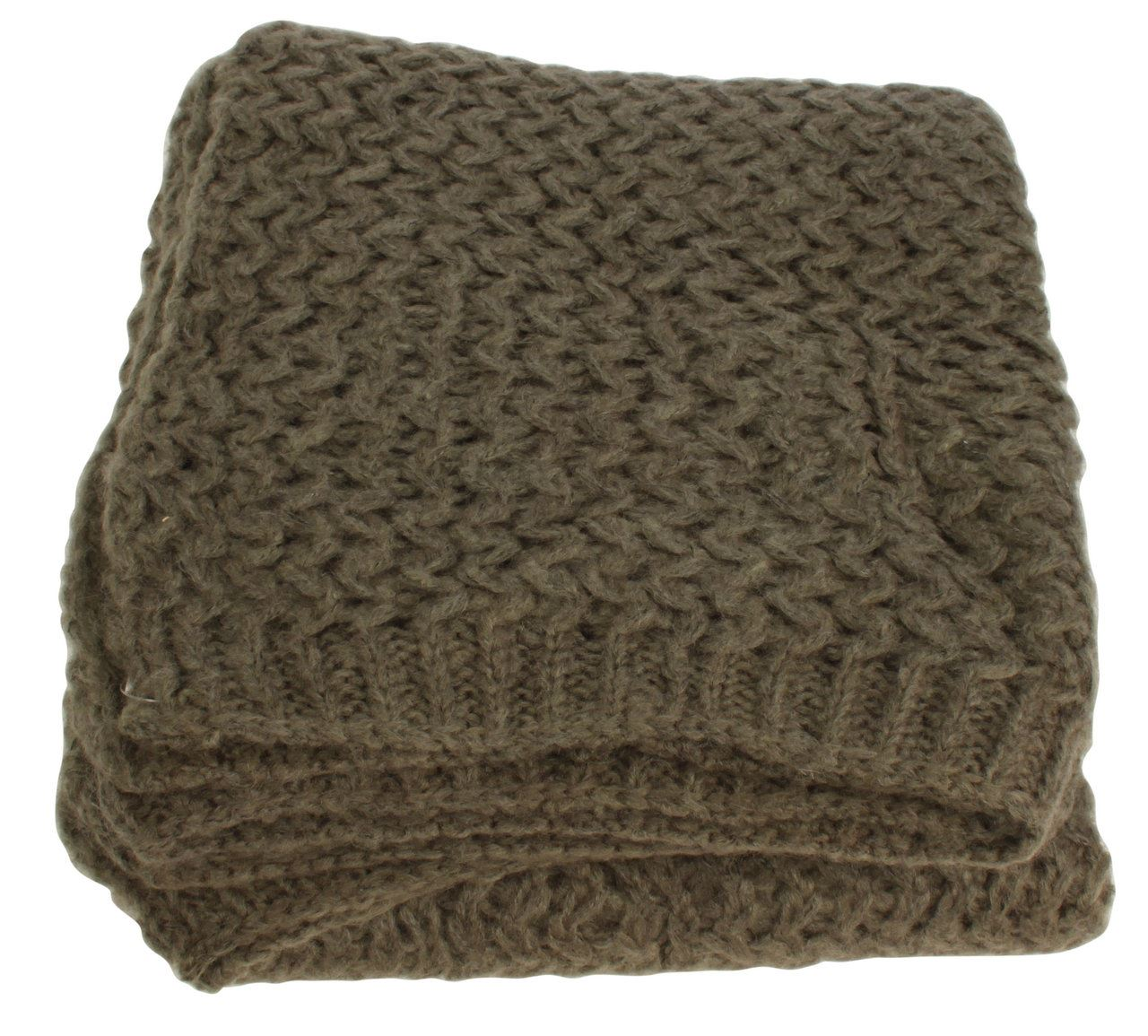 Brown Wool Ribbed Throw