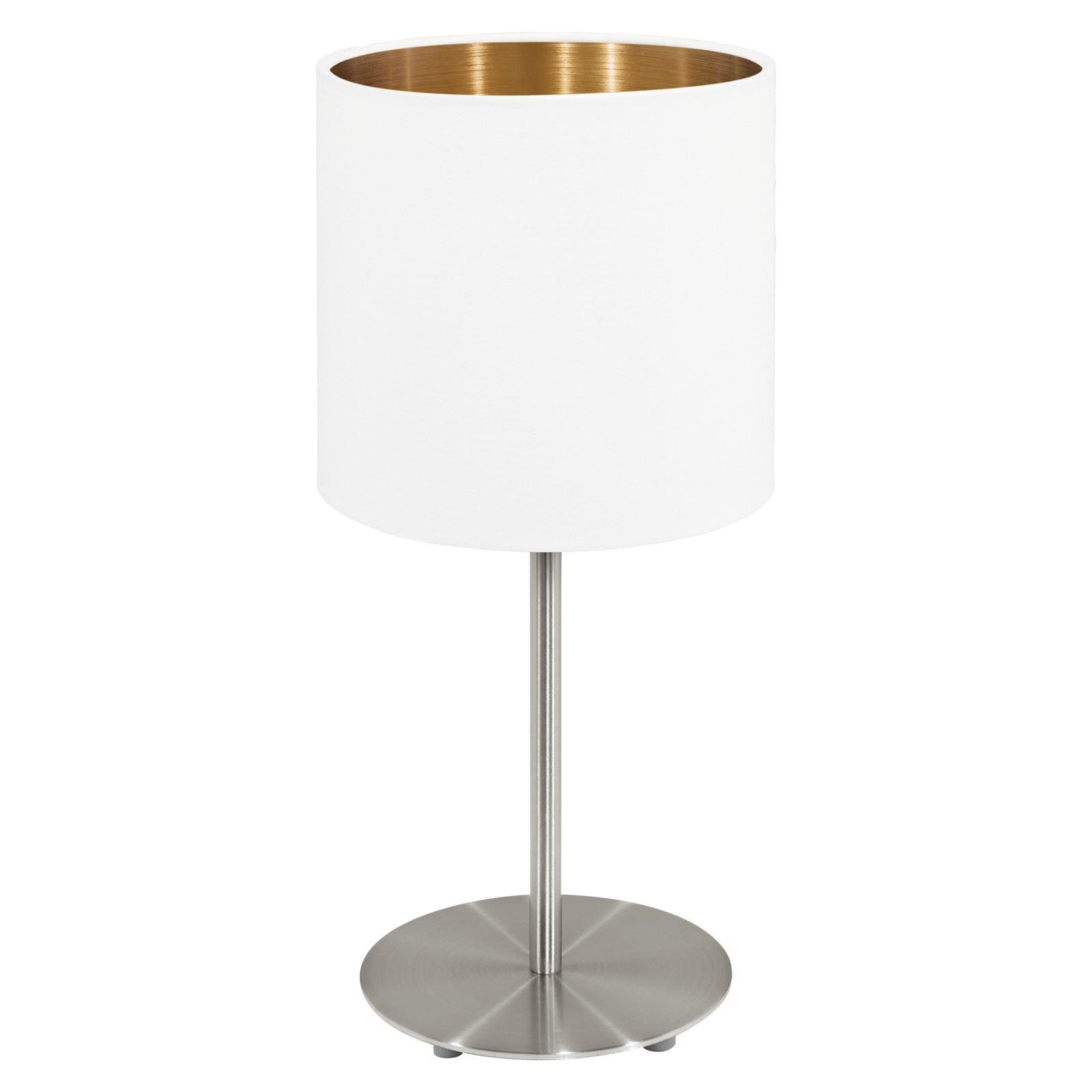Pasteri Table Lamp 1 Light E27 White, Copper Fabric Shade