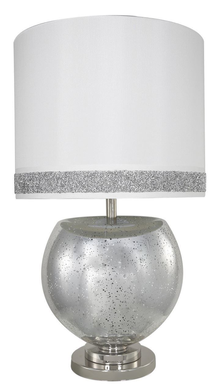 Silver Chrome Mercury Bowl Modern Table Lamps With A White Stripe Cylinder Shade - Big Living