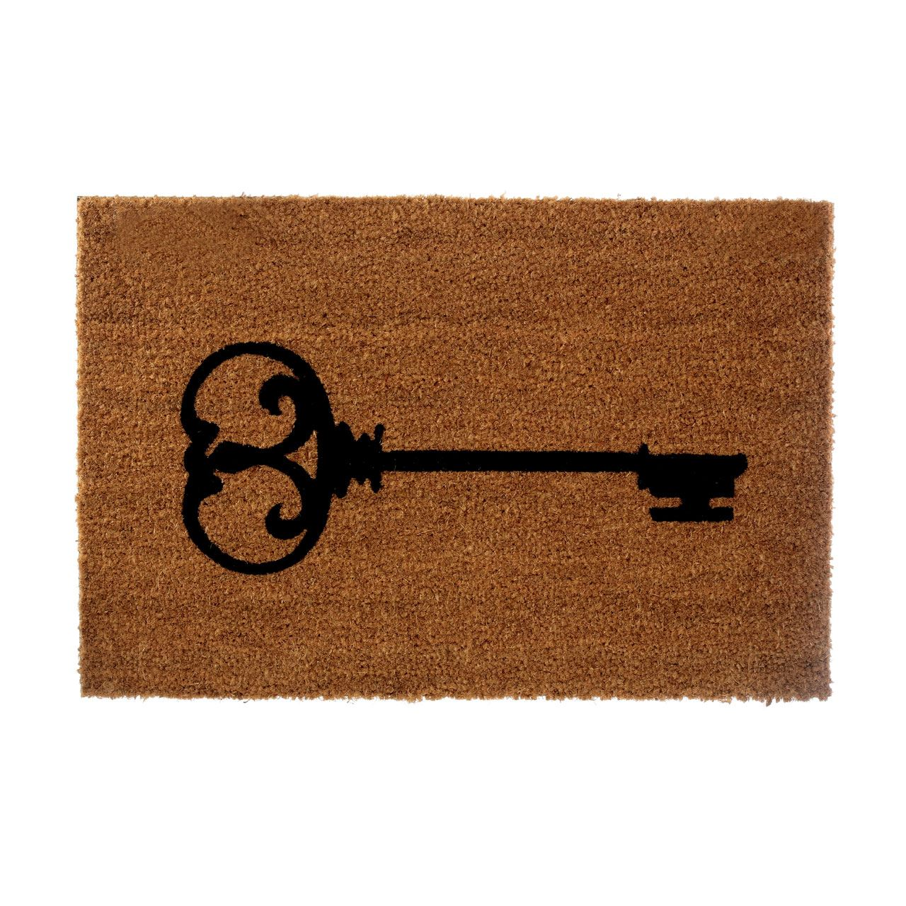 Key Doormat,Coir/Pvc Backed,Natural/Black