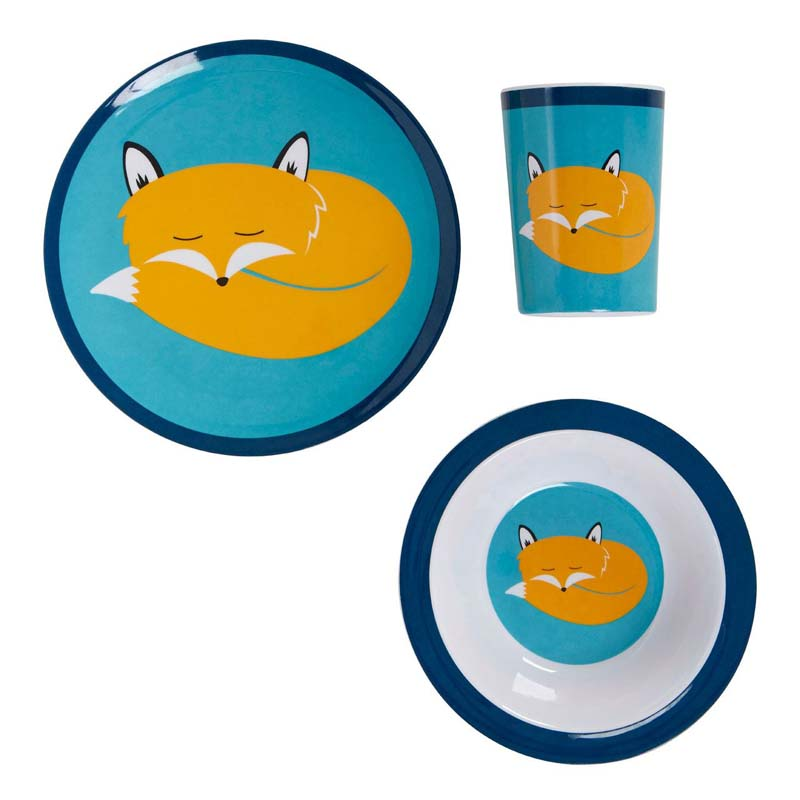 Mimo Kids Dinner Set, Felix Fox, 3 Piece / Melamine