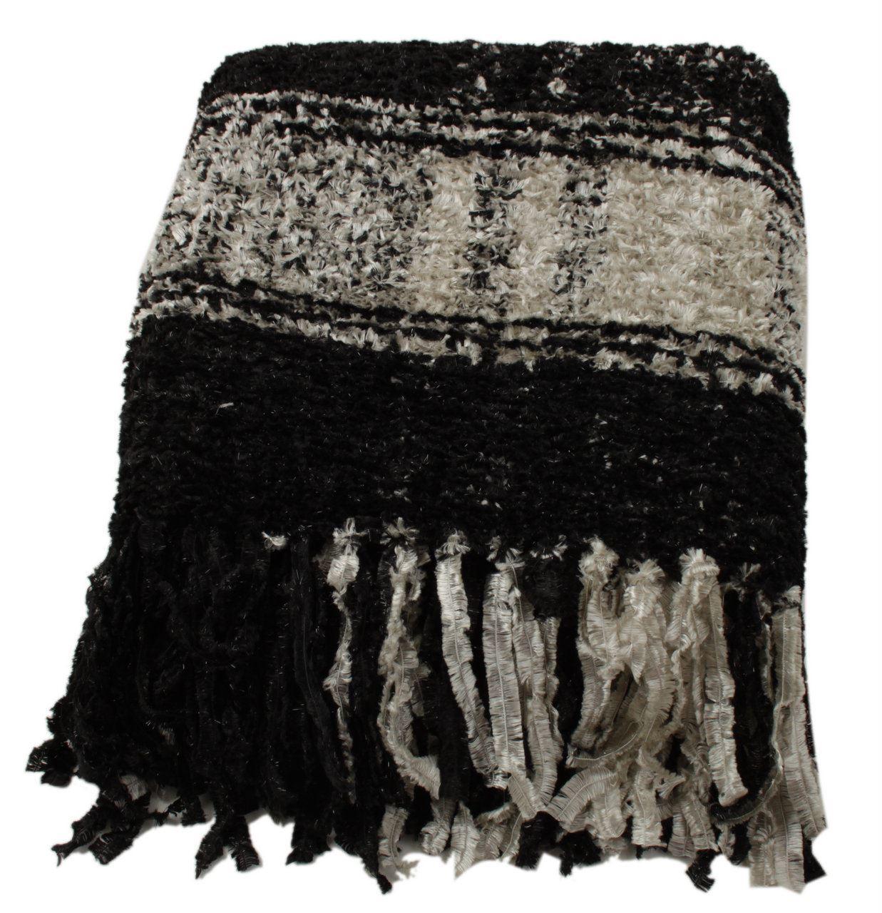 Black And White Plaid Sparkle Weave Throw Blanket Sofa Bedroom Decor