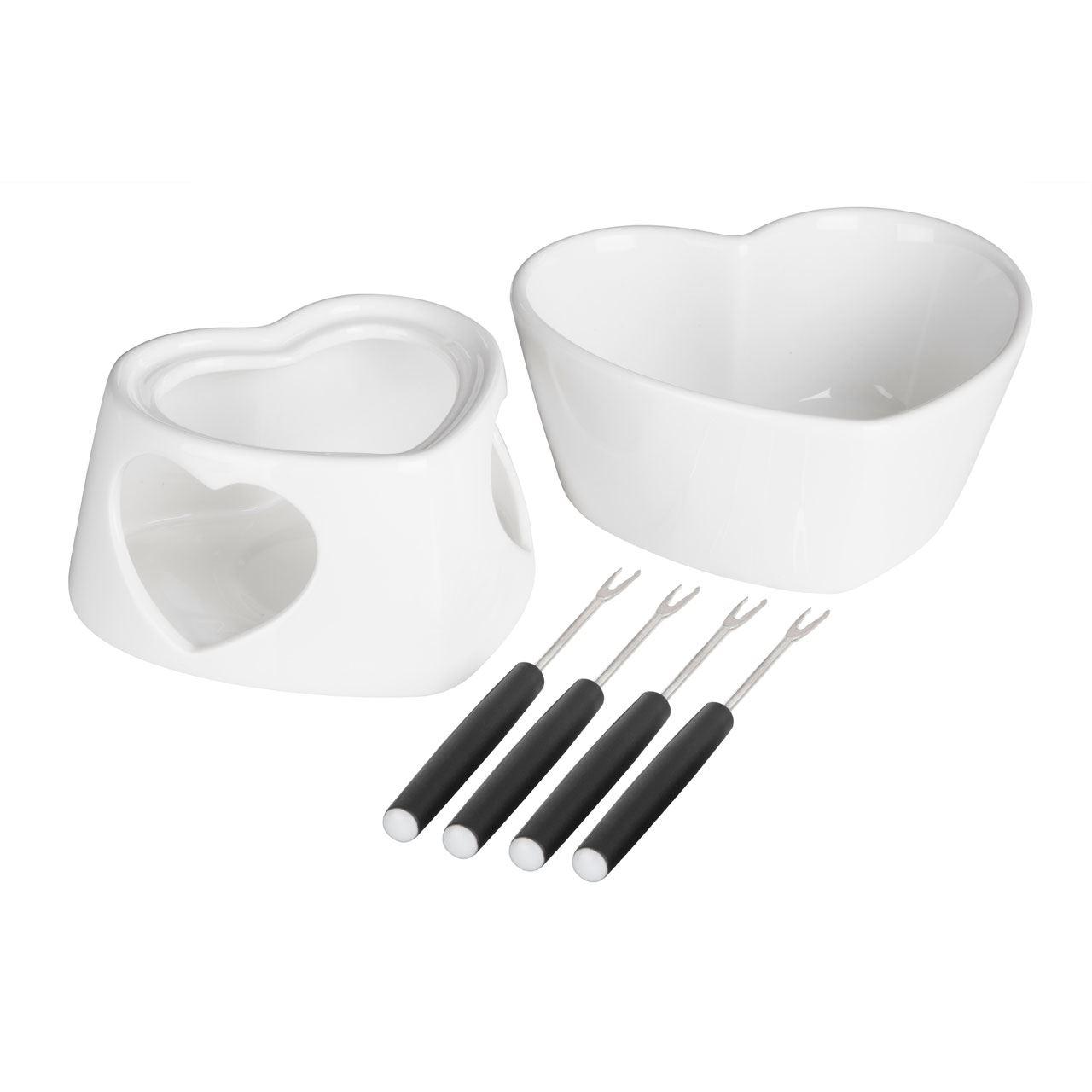 Venus Fondue Set,White Dolomite,4 X Forks / 1 X Dish