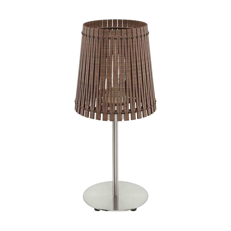 Sendero Modern Table Lamp 1 Light E27 Dark Brown Wood Steel