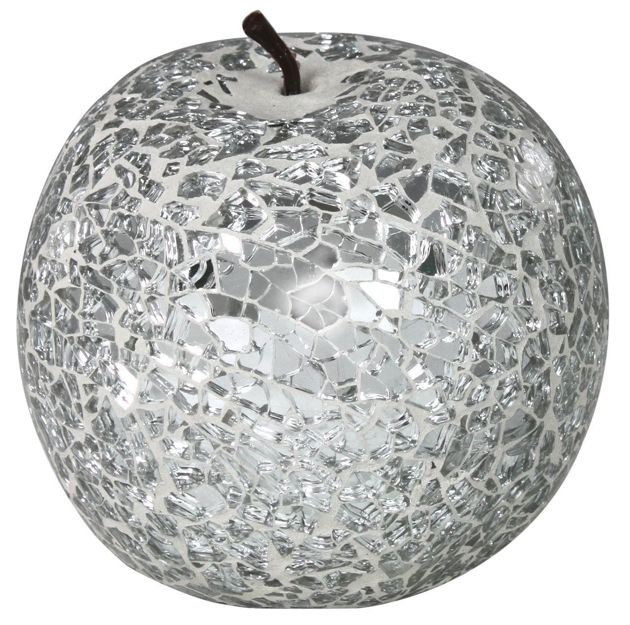 Silver Sparkle Mosaic Apple Decoration With Stem