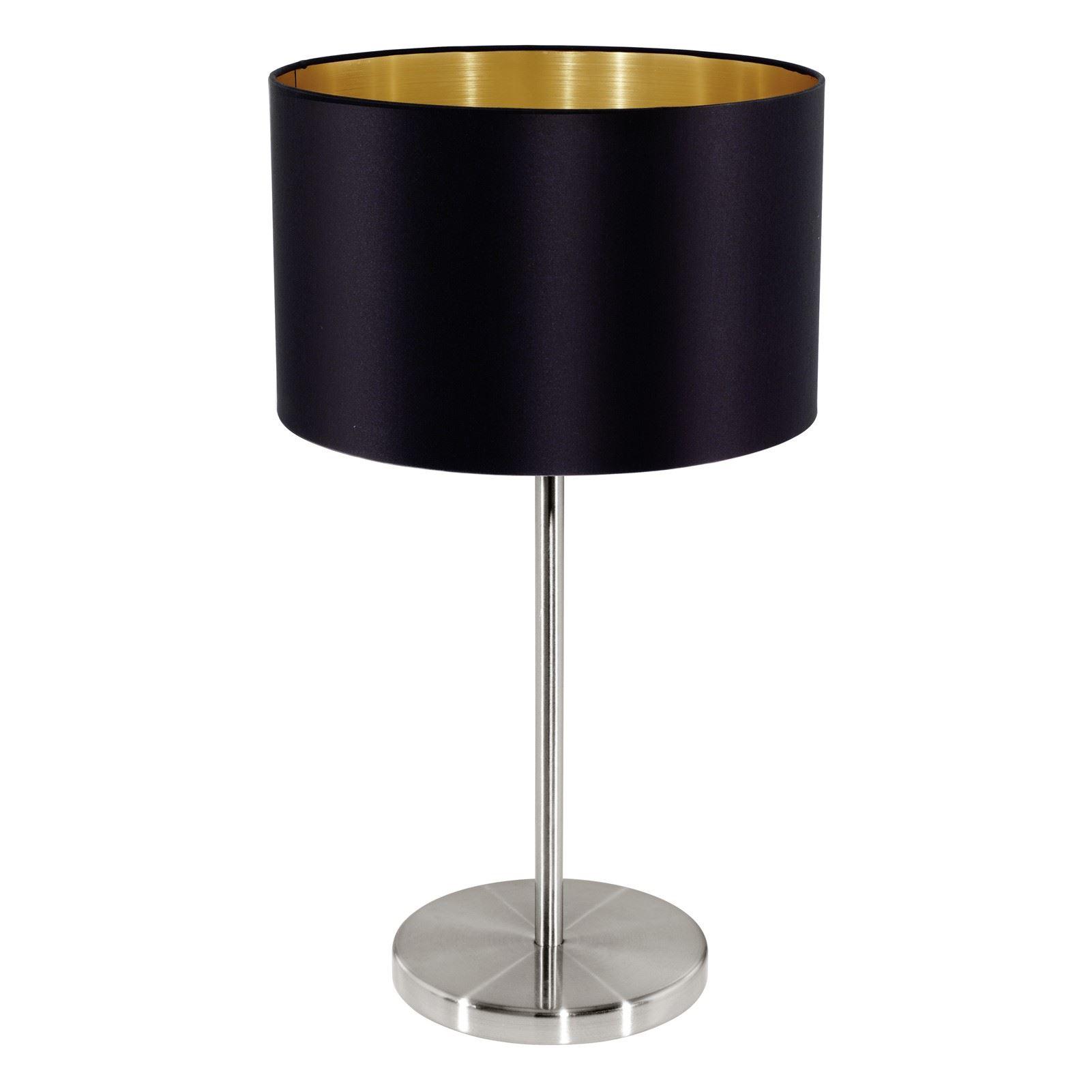 Maserlo Steel Satin Nickel Table Lamp 1 Light E27 Fabric Matt Black Shade