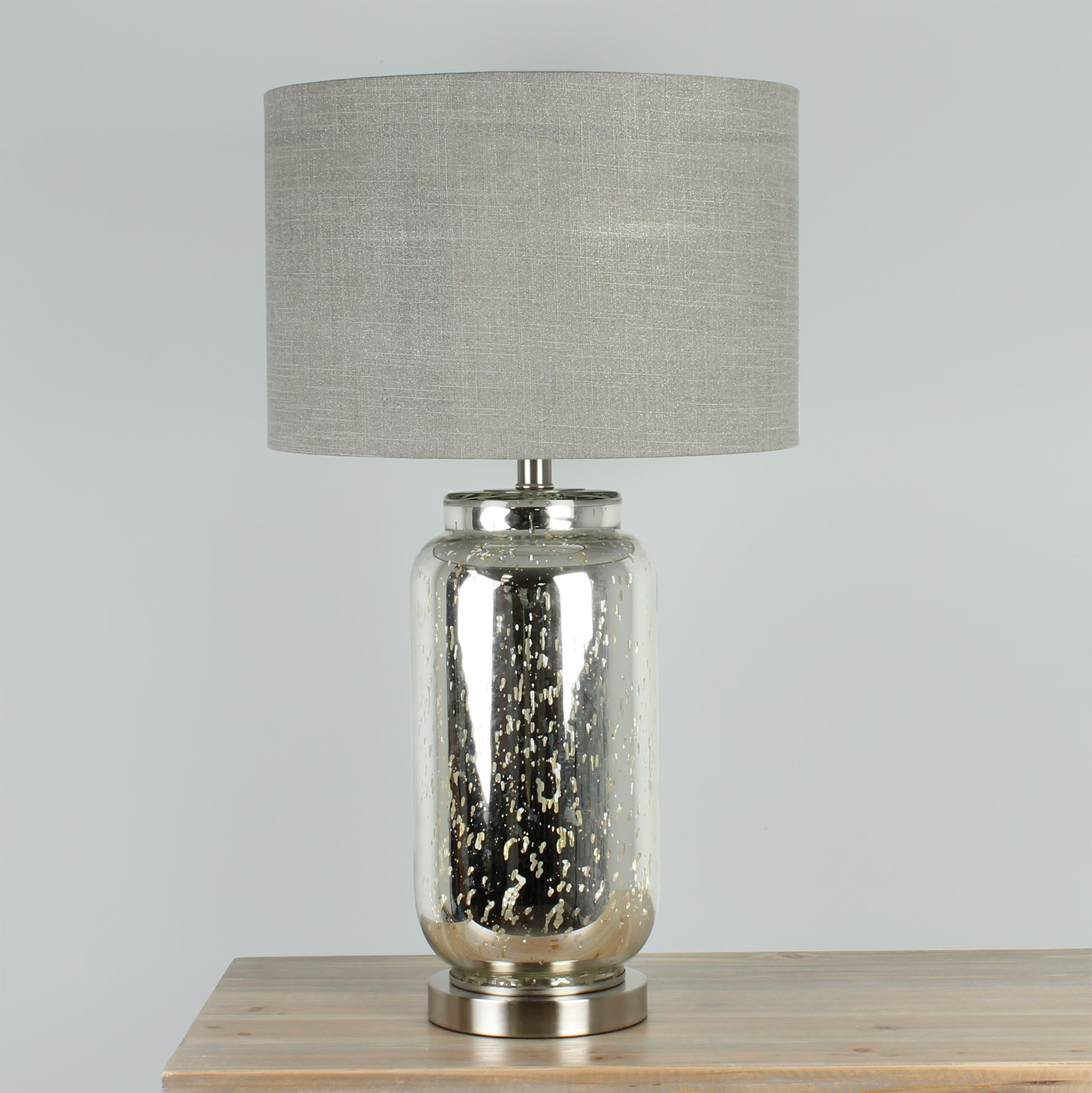 HESTIA? Glass Table Lamp with Metal Base & Beige Shade