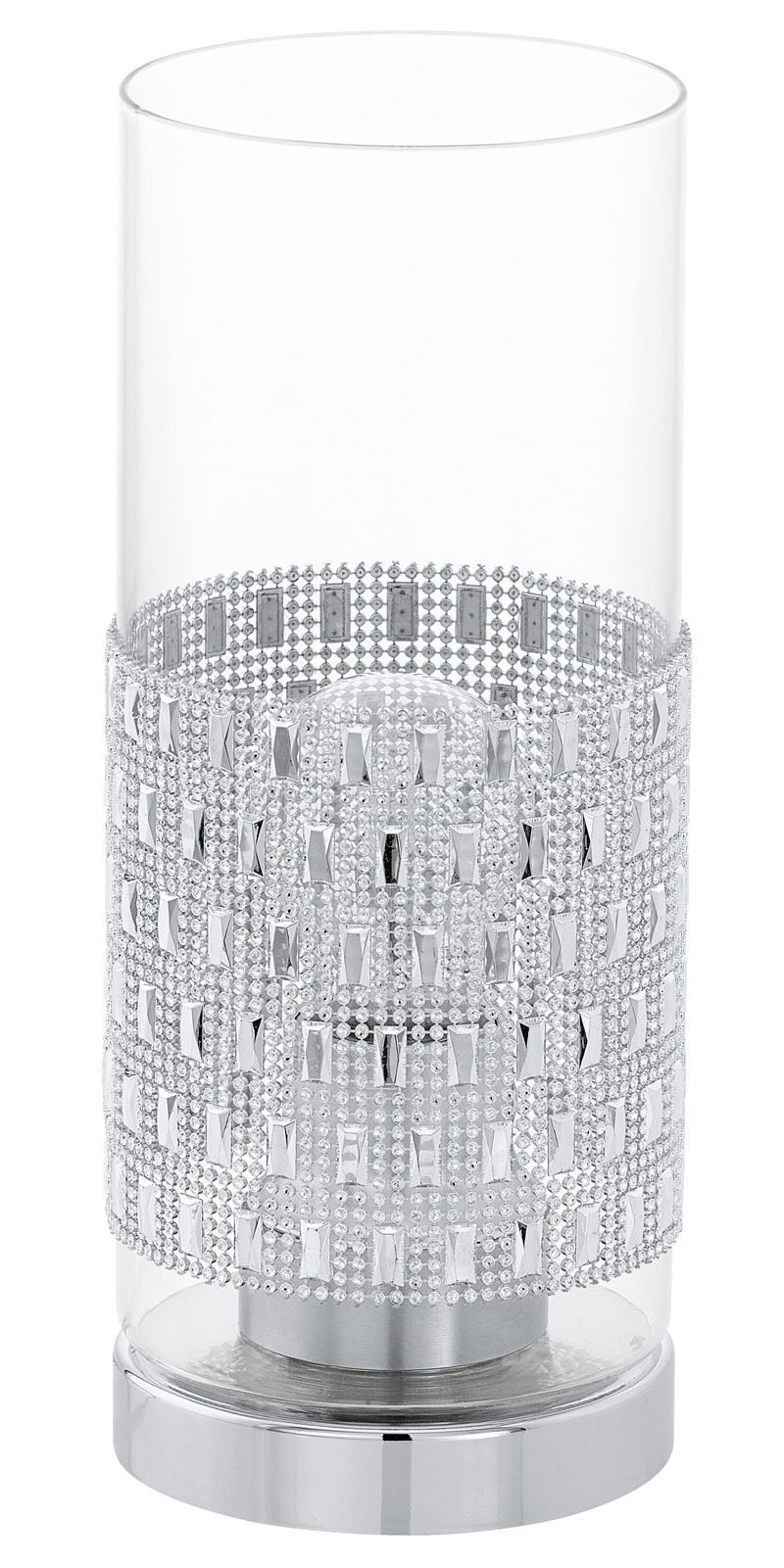 Torvisco Chrome Table Lamp 1 Light E27 Clear Glass Shade