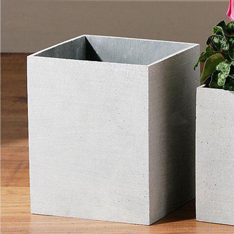 Vase,Grey Polyresin,Square